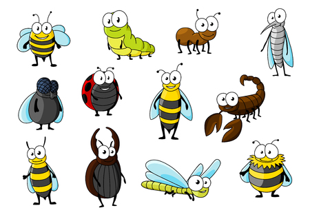 Cartoon smiling bee and brown ant, red spotted ladybug and fat fly, green yellow caterpillar and dragonfly, elegant mosquito and wasp, fluffy bumblebee, kind stag beetle, hornet and scorpion characters. Insects animals for nature or mascot design usage Ilustração