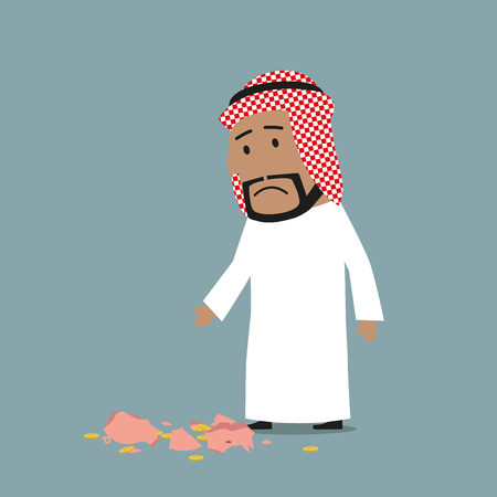 penniless: Cartoon arab businessman broken piggy bank and understanding that money box almost empty. Bankruptcy, financial crisis and poverty concept