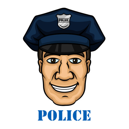 secure security: Emergency service profession design with cheerful smiling policeman or police officer in blue peaked cap with silver cockade Illustration