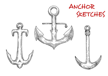 Old stock anchors sketch icons with decorative curved arms and sharp flukes. Nice for marine theme design, nautical symbol or tattoo