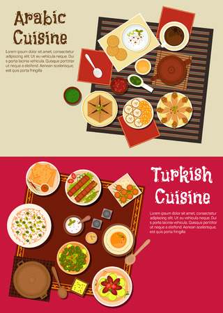 food illustration: Traditional lunch dishes of arabian and turkish cuisine with pita bread served with dipping sauces, kebab and falafels, meat pie and olives, herbal tea with cakes and fruits