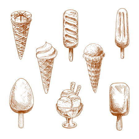 ice cream sundae: Desserts sketches with ice cream cones, chocolate bars and fruity ice pop on sticks and ice cream sundae with glazing and wafer tubes. Illustration