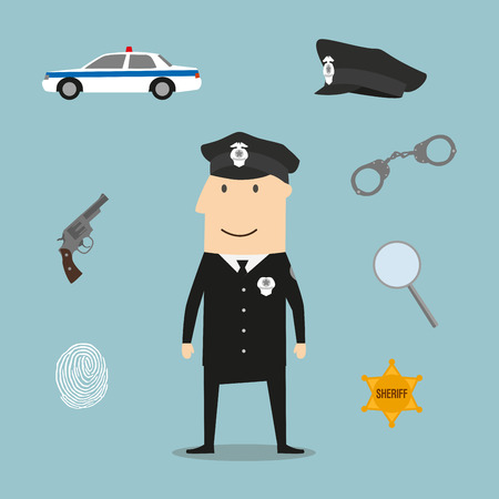 handcuffs: Police profession icons and symbols with officer in black uniform and peaked hat with handcuffs and gun, police car and sheriff star badge, fingerprint and magnifying glass Illustration