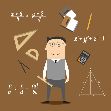 Mathematician profession concept design with teacher in glasses encircled by formulas and calculator, rulers and compasses, pencil and textbooks, drawing and geometric figures