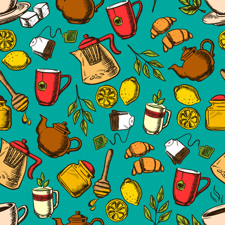 Herbal tea seamless pattern. Cup of hot tea on saucer with mint leaves, sugars, lemon and croissant surrounded teapots and cups, honey jar with dipper, tea bag, tea branch and ginger