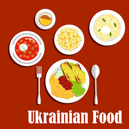 toasted bread: Nutritious ukrainian dishes with borscht and sour cream, vegetarian dumplings, fried potato served with toasted bread, topped with tomatoes and cheese and fresh vegetable salad, deep fried pastries and tea cup with lemon