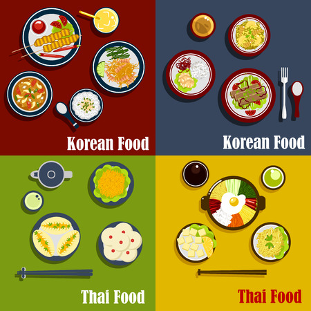 Thai and spicy korean cuisine dishes with carrot salad, shrimps with fried rice, prawn soup and vegetable pies, grilled beef on sticks, coconut puddings and sauces