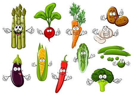 zanahoria caricatura: Feliz sonriente de la historieta de la mazorca de maíz dulce y berenjena, zanahoria naranja dulce y el guisante verde, patata y pimiento rojo caliente, el brócoli y el rábano, la col china crujiente y manojo de espárragos verduras Vectores