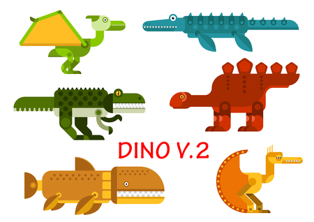 raptor: Dinosaurs icons with prehistoric animals and water reptiles. Colorful tyrannosaurus, raptor, brontosaurus, stegosaurus, pterodactyl and velociraptor monsters