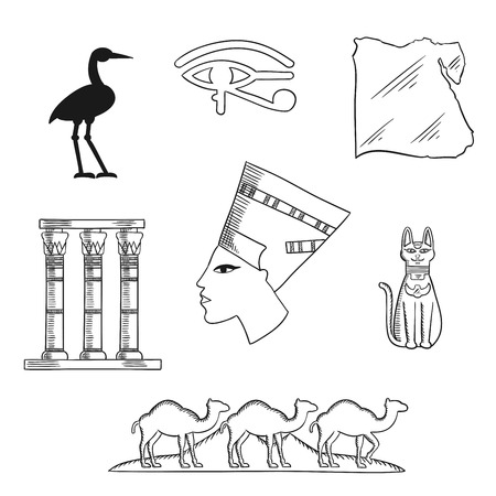 queen nefertiti: Ancient Egypt sketch icons with queen Nefertiti, cat goddess and sacred heron Bennu, eye of horus symbol and temple columns, map, caravan of camels and Giza pyramids. Travel and culture theme design