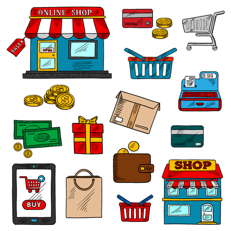 cash register building: Shopping, business and retail icons of online shop and sale tag, tablet pc with buy button, money and credit cards, shopping cart, basket and bag, store and wallet, cash register, gift and delivery boxes