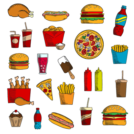 condiments: Takeaway and fast food icons with French fires and cheeseburger, pizza and hot dog, ice cream and coffee, cake and chicken, condiments and beverages