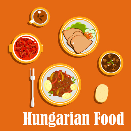 Hungarian national cuisine with beef goulash stew, served with boiled young potatoes, bean soup, pepper and tomatoes salad with vinegar, goose liver with fresh vegetables, bread and tea cup Illustration