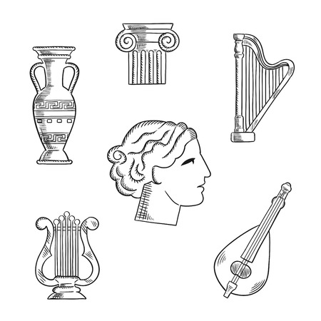 Classic  art and musical instruments sketch icons with a lyre and amphora, capital on a column, harp and woman head Illustration