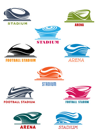 arena: Sports architecture  symbols with stadium and arena icons. Modern sporting complexes for championship promotion, sport symbol usage