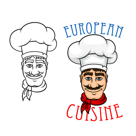 european cuisine: Gourmet european chef with cheerful smiling mustache french cook in white toque and red neckerchief. Use for restaurant menu, european cuisine or another food design themes