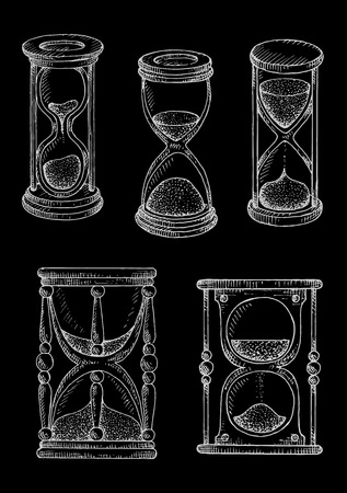 the passing of time: Vintage hourglasses chalk sketches on blackboard. Stylized engraving drawings of wooden sandglasses with carved decorations. May be used as time concept or symbol of passing time Illustration
