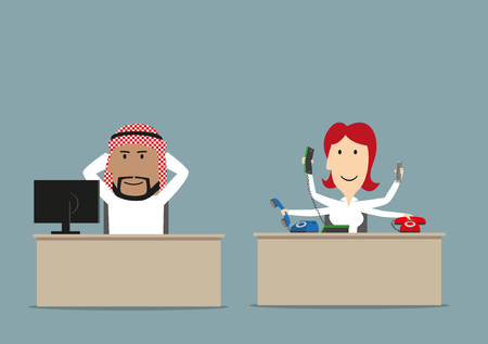 sleepy woman: Cartoon lazy arab chief relaxing at workplace while his secretary working. Lazy worker, unfair teamwork, overwork, shirker theme design Illustration