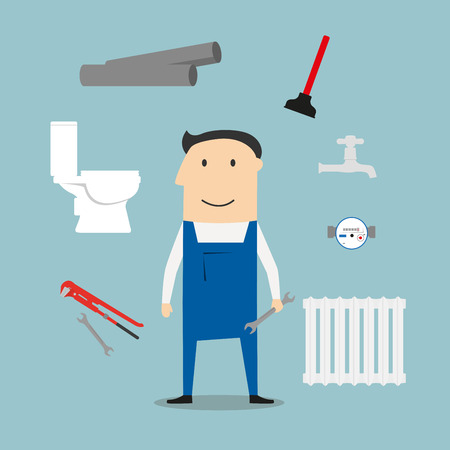 water pipes: Plumber service profession icons with radiator, water faucet and water meter, toilet and adjustable wrench, pipes system with leak, spanners, plunger and man in overalls