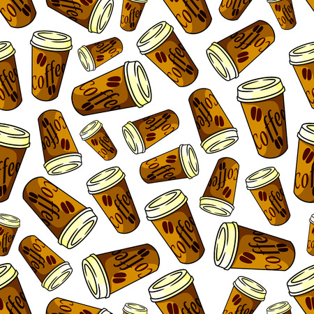 lids: Seamless takeaway coffee pattern of brown paper cups with lids, decorated by printed coffee beans over white background. Fast food refreshing beverage, coffee shop menu theme design