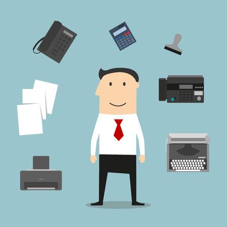 administracion de empresas: Secretario o profesión administrador de iconos con teléfono, fax, pila de carpetas con documentos, bolígrafo, impresora, símbolo del correo, la máquina de escribir y elegante joven