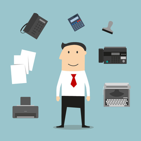 Secretary or manager profession icons with telephone, fax, stack of folders with documents, pen, printer, mail symbol, typewriter and elegant young woman
