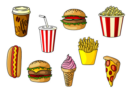 Beef burger and cheeseburger with vegetables, french fries, pizza, takeaway popcorn bucket and paper cups of coffee and soda, strawberry ice cream cone. Fast food objects for cafe or restaurant menu design Illustration