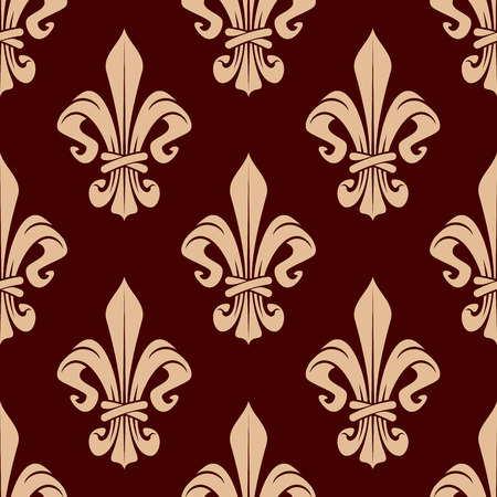 maroon: French heraldic floral pattern with seamless ornament of delicate peach fleur-de-lis, composed of twisted leaves tied by encircling band over maroon background. Maybe used as interior or wallpaper design