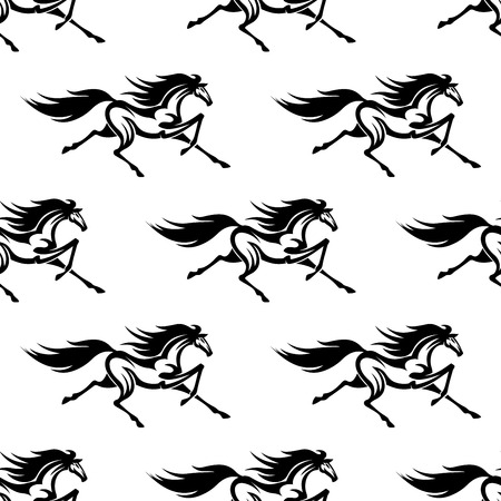 trot: Black and white equestrian background for sporting or interior accessories design with seamless pattern of graceful prancing horses Illustration