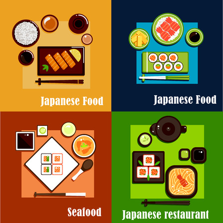 Fresh seafood dishes of national japanese cuisine with sushi rolls and salmon