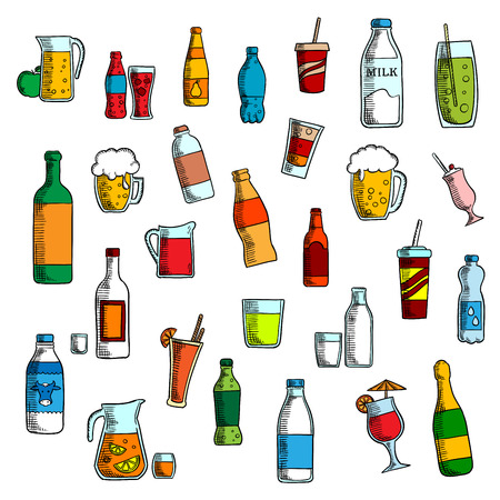 Beverages, cocktails and drinks sketch icons