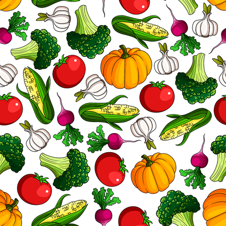 haulm: Fresh tomato and pumpkin, broccoli and corn, radish and garlic vegetables seamless pattern background for agriculture, recipe book or vegetarian food design Illustration