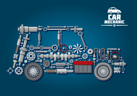 Car mechanic scheme with silhouette of a car with steering wheels