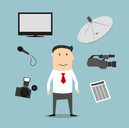 satellite tv: Reporter profession icons and symbols with man surrounded by newspaper and microphone, photo and video cameras, satellite dish antenna and TV Illustration
