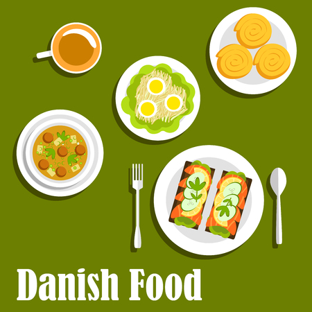 open sandwich: Healthy and tasty danish cuisine with sandwiches on rye bread with salted salmon, lemon and cucumber, chicken soup with melboller dumplings and meatballs, egg salad, cup of coffee with cinnamon rolls. Flat style