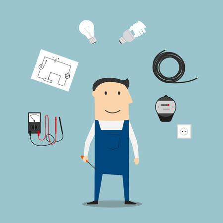 enchufe de luz: concepto de profesión electricista con el trabajador, rodeada por un ahorro de energía y bombillas, enchufes macho y hembra, contador de la luz y el disyuntor, multímetro
