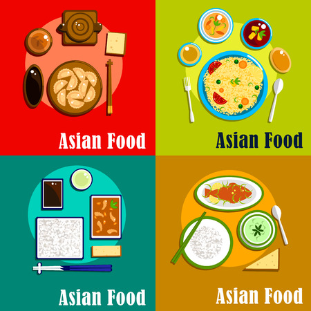 indian fish: Traditional dishes of indian, thai, korean and chinese cuisine with rice and pickles, chinese dumplings with soy sauce, thai green curry with fish and rice, spicy korean shrimps with rice Illustration