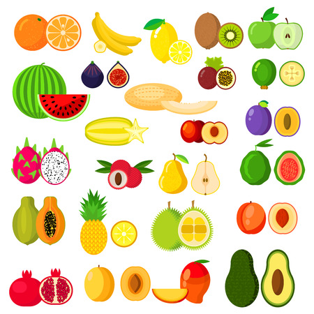 kiwi fruit: Fruits icons set Illustration