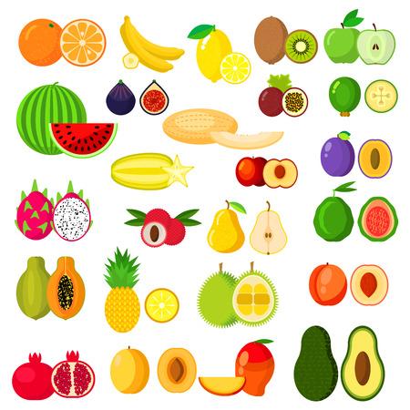 plum: Frutas iconos conjunto