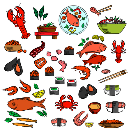delicatessen: Seafood, fish and delicatessen icons of sushi and red caviar Illustration