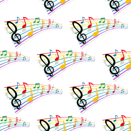 clefs: Musical notes seamless background with colorful pattern of musical staves, notes and treble clefs.