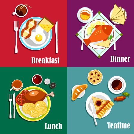 boiled: Continental breakfast, lunch and dinner with egg, bacon and coffee, baked fish, boiled potatoes and tea, pasta, fried chicken and cappuccino, fruit pie and bun, cookies and candies