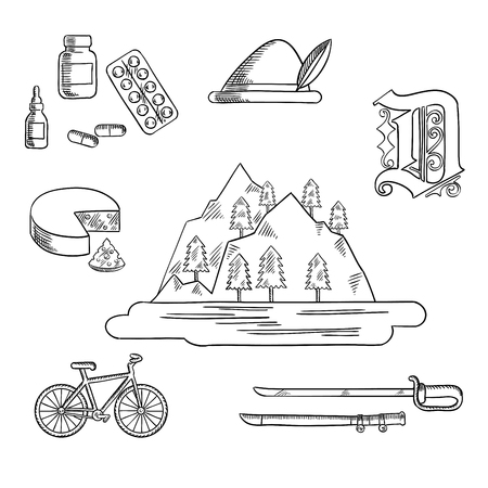 german culture: German travel and culture sketch icons with Alps mountain, forest and lake, surrounded by bavarian hat and cheese, medication and gothic german letter, bicycle and medieval sword