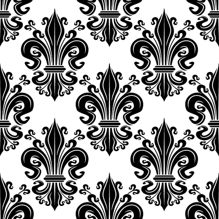 tendrils: Black fleur-de-lis ornate seamless pattern of victorian leaf scrolls with ornamental swirling petals and curly tendrils on white background. Use as french royal concept or vintage interior design