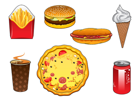 soda: Fresh takeaway italian pizza with salami, hot dog with frankfurter, ketchup and mustard dressing, cheeseburger with beef, tomatoes, onion and cheese, crispy french fries, soda can, paper cup of coffee and vanilla ice cream cone