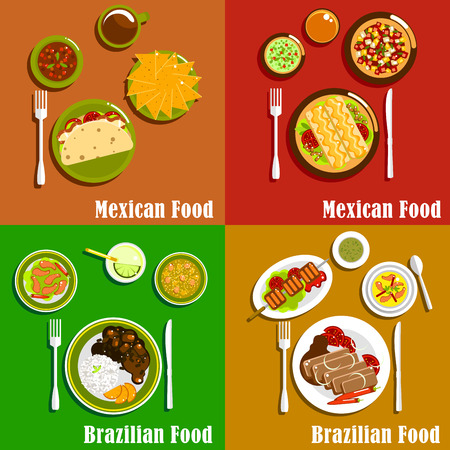 Mexican and Brazilian cuisine icons Vector Illustration