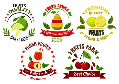 Orgánicos frescos de granja frutas emblemas para la cosecha agrícola Ilustración de vector
