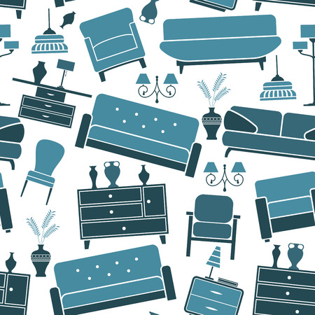 couches: Retro home interior furniture and accessories seamless pattern with blue couches Illustration
