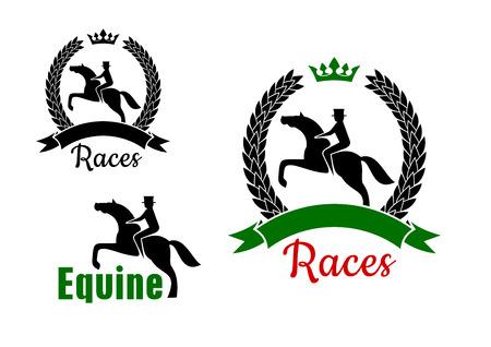 Paardensport symbolen voor paardenraces prijsvraagontwerp met ruiters en springen paarden, één omlijst door gekroonde lauwerkrans met lint banner en een andere met de tekst Equine Stock Illustratie