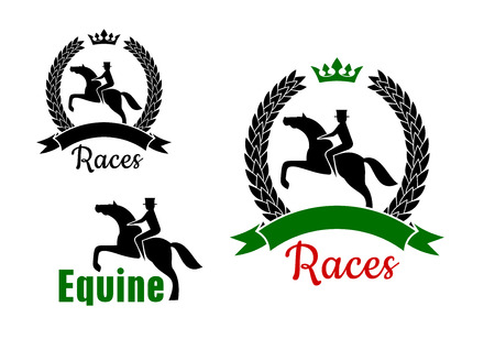 Equestrian sport symbols for horse racing competition design with riders and jumping horses, one  framed by crowned laurel wreath with ribbon banner and another with text Equine Illustration